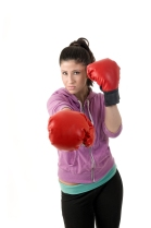 Workout woman punches
