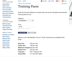 Sample screen shot of Runner's World training paces calculations